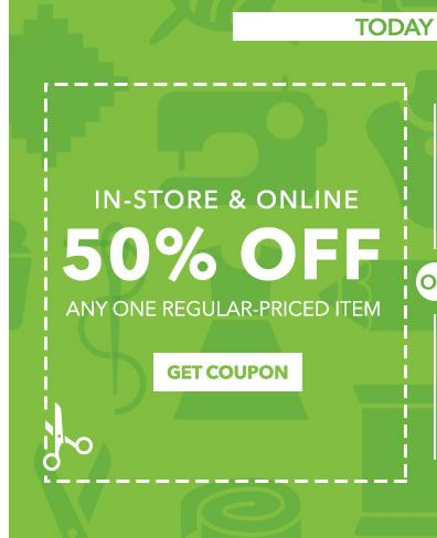 50 off Any One Regular Priced Item Joann's • Exp 7/23