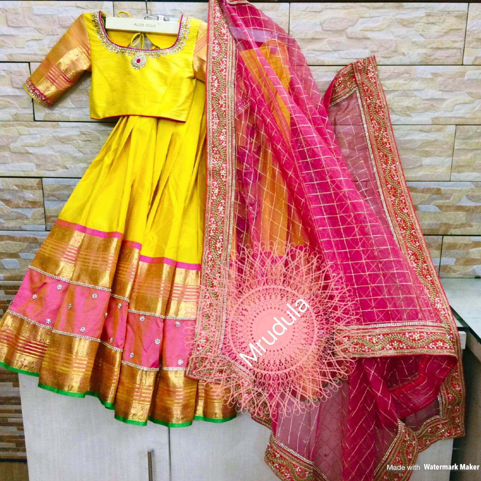 Yellow And Pink Lehenga For Kids Half Saree Designs Pink Dresses For Kids Half Saree Lehenga