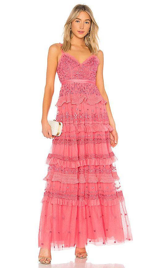 iris layered embroidered cami maxi dress in hot pink - Hot pink Needle & Thread 94PWiB