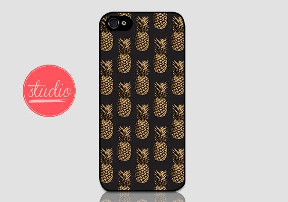 Black and Gold PINEAPPLE PATTERN - iPhone 4, iPhone4s, iPhone 5, iPhone 5s Case