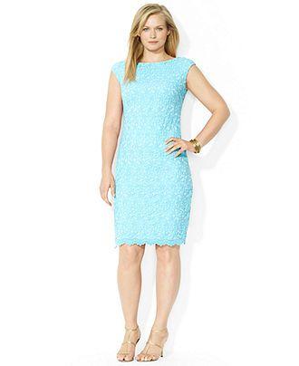 5427adb6035 Lauren Ralph Lauren Plus Size Cap-Sleeve Lace Shift Dress - Plus Size  Dresses - Plus Sizes - Macy s