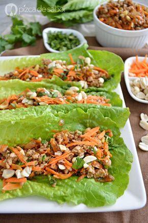 Tacos de lechuga orientales www.pizcadesabor.com