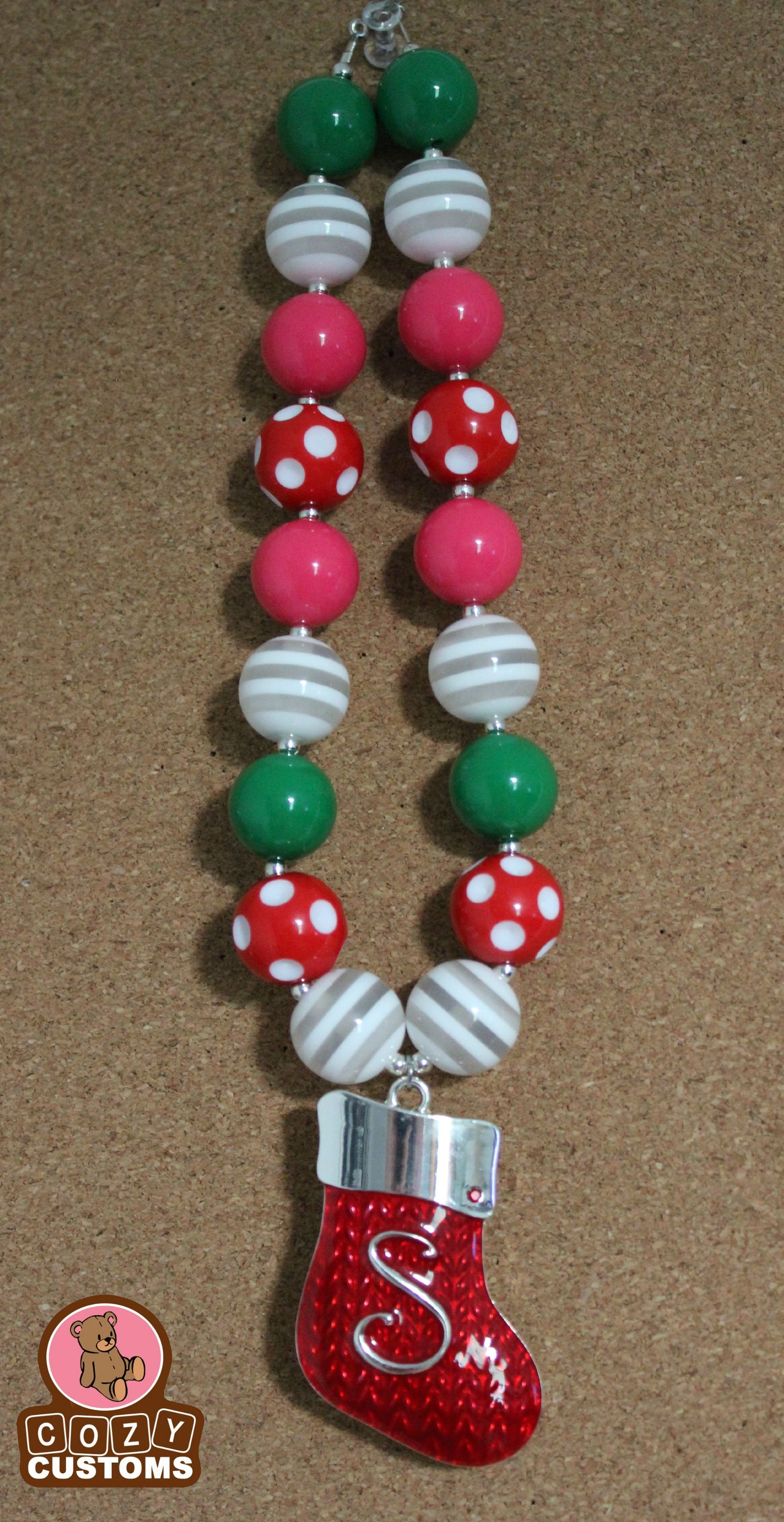 """""""S"""" Christmas Stocking Chunky Necklace"""