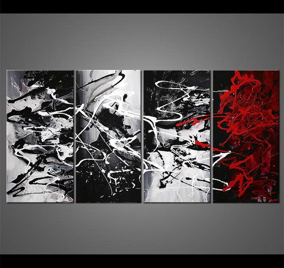 Abstract Painting Modern Black White Red Gray Acrylic Painting By