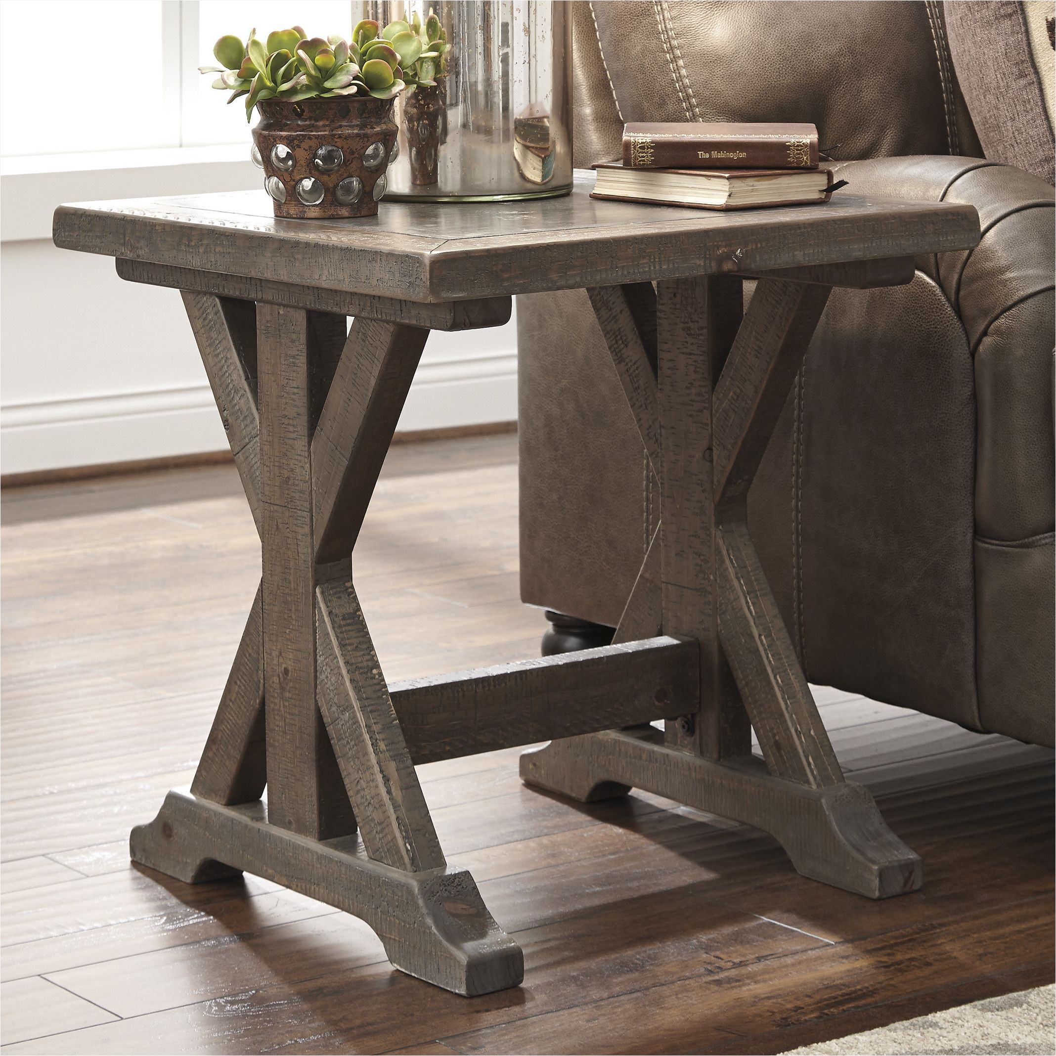 farmhouse side table with storage