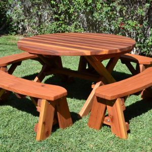 Round Wood Picnic Tables And Benches Httpcapturecardiffcom - Best wood for picnic table
