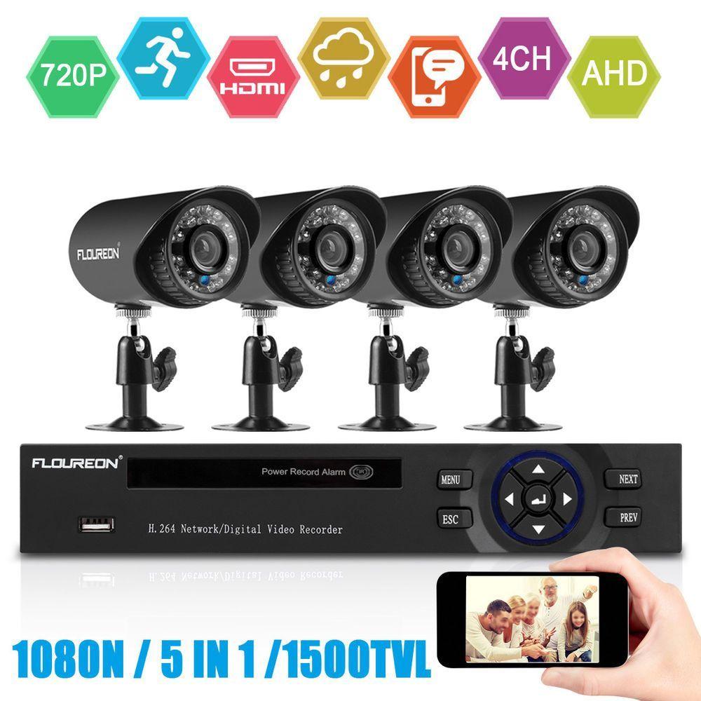 Floureon 4CH 1080N CCTV AHD DVR Outdoor 1500TVL Security