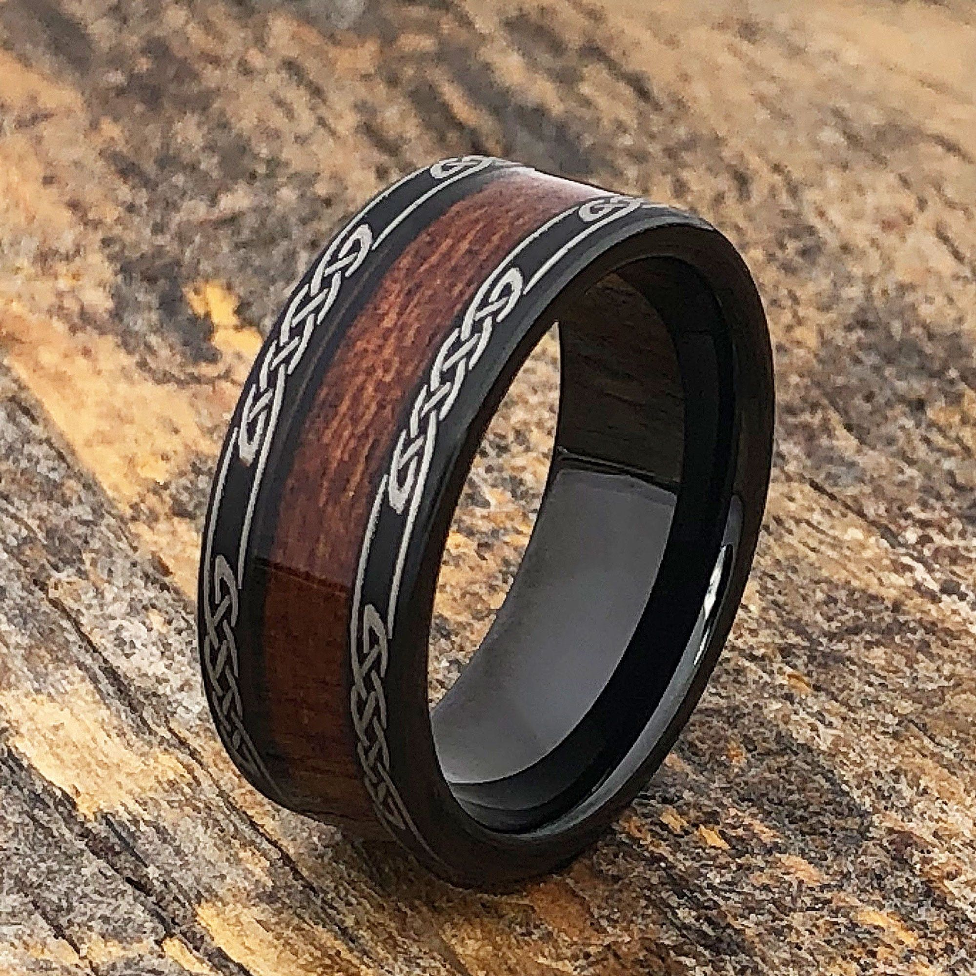 Black Wood Ring, Black Wedding Band, Celtic Ring, Mens
