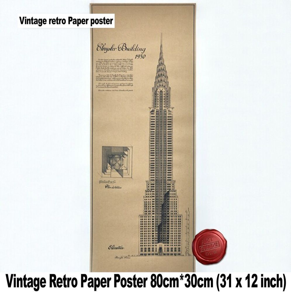 Large vintage wall retro bar paper poster chrysler building large vintage wall retro bar paper poster chrysler building blueprint design vintage malvernweather Image collections