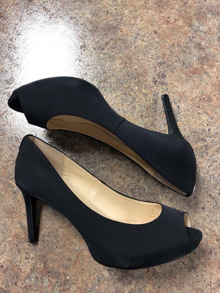 a55800affcb Liz Claiborne Women s Black open toe 3 inch heels size 6.5 ...
