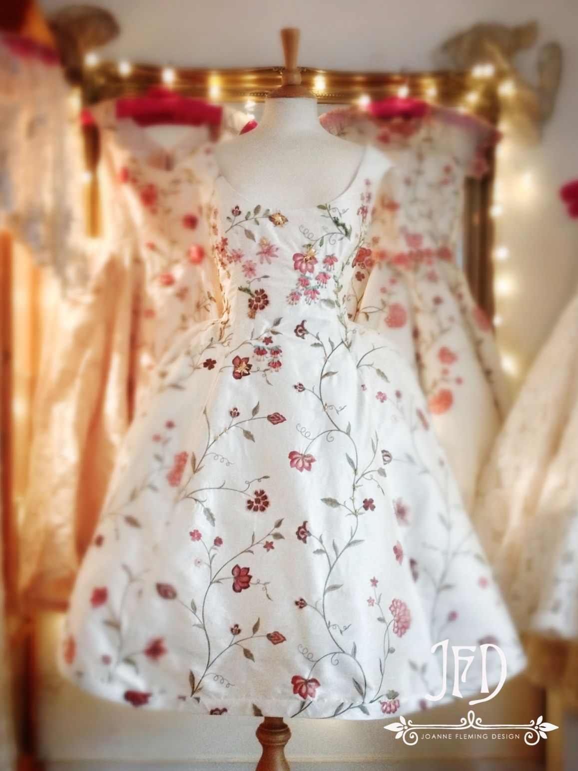 Flower Embroidered Silk Tea Length Wedding Dress By Joanne Fleming