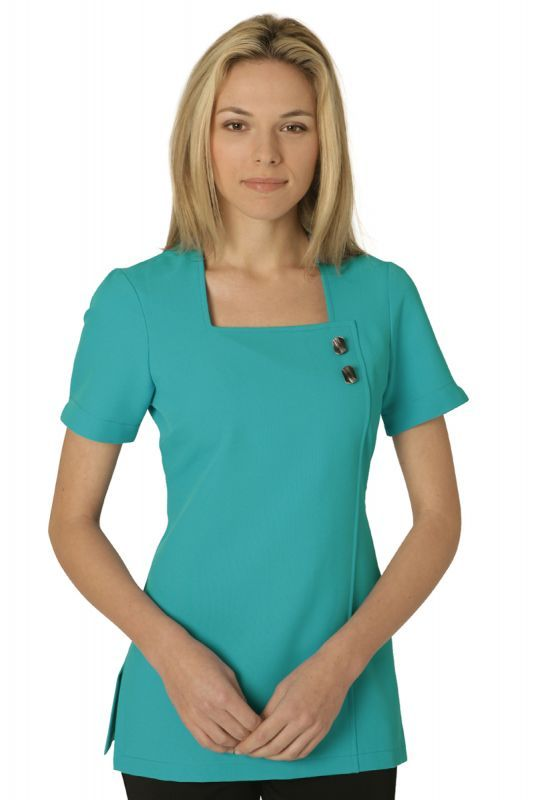Chic tunic turquoise salon uniform pinterest more for Spa uniform cotton