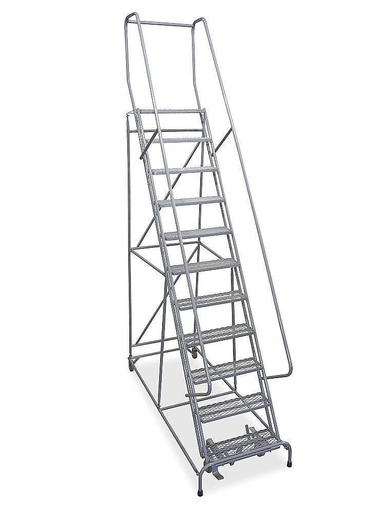 11 Step Rolling Safety Ladder Assembled With 10 Top Step H 844 10 Uline Safety Ladder Rolling Ladder Ladder
