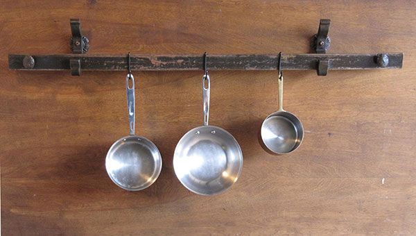 Hanging Pots And Pans On Wall rustic pot racks with lights | rail anchor pot rack wall mounted