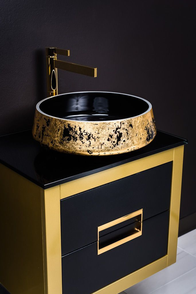 MaestroBath Proudly Presents Luxury Danya Gold Bathroom Vanity And Exte Lux  Bathroom Sink And Caso Polished Gold Bathroom Faucet