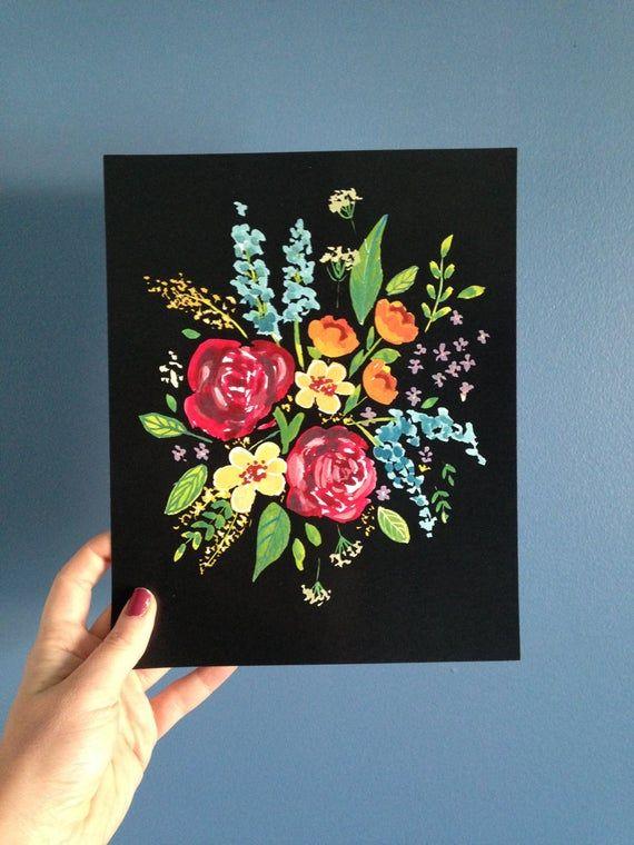 Dark Florals, 8x10, unframed.