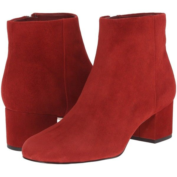 0c8ad110ce1223 Sam Edelman Edith (Rust Red Suede) Women s Zip Boots ( 85) ❤ liked on  Polyvore featuring shoes