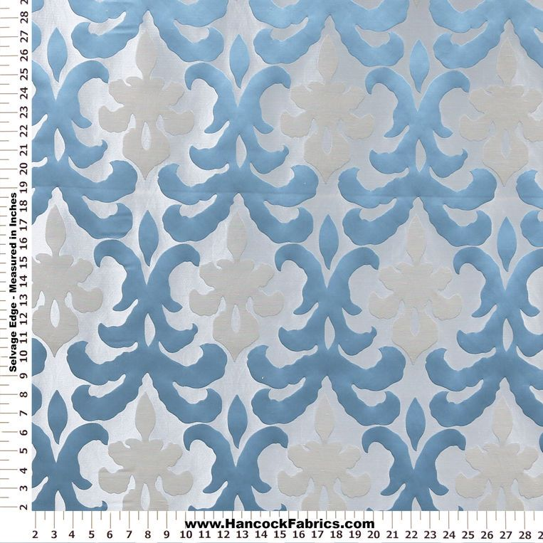 Beau Mesaline Damask Teal Home Décor Fabric