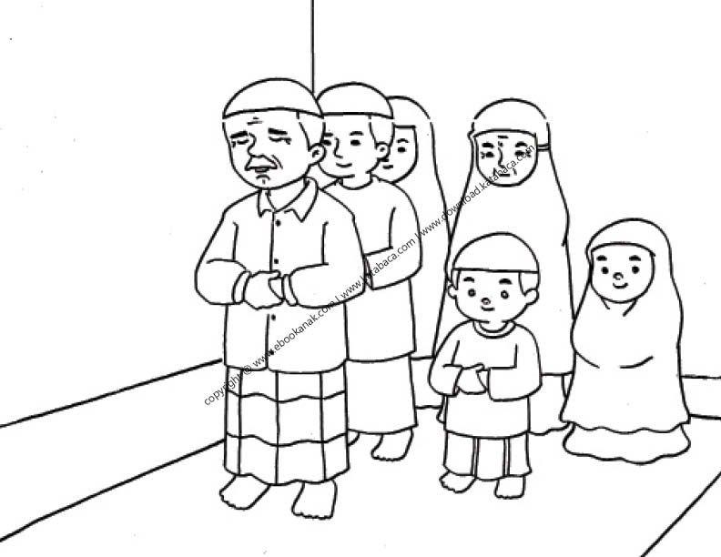 Gambar Mewarnai Satu Keluarga Sedang Shalat Berjamaah 23 Ebook