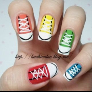 Sneaker Nails I Think My 12 Year Old And Her Friends Are Going To Love Showing Theses Off Cute Easy Nail Designs Cute Simple Nails Simple Nail Designs
