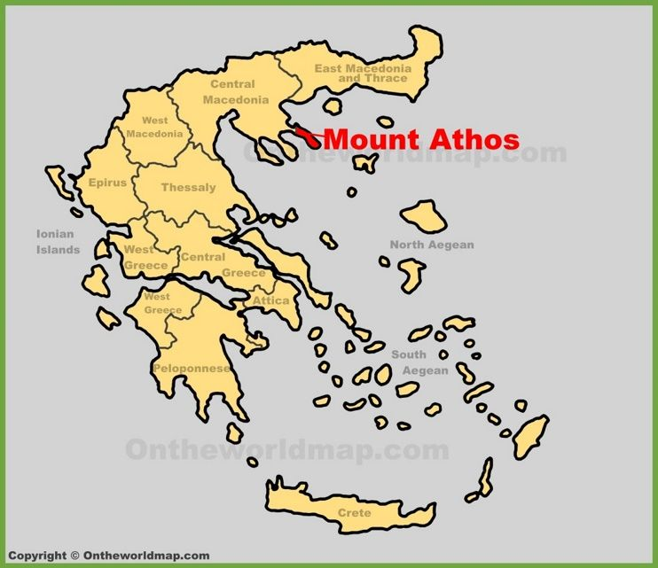 Mount Athos location on the Greece map Maps Pinterest