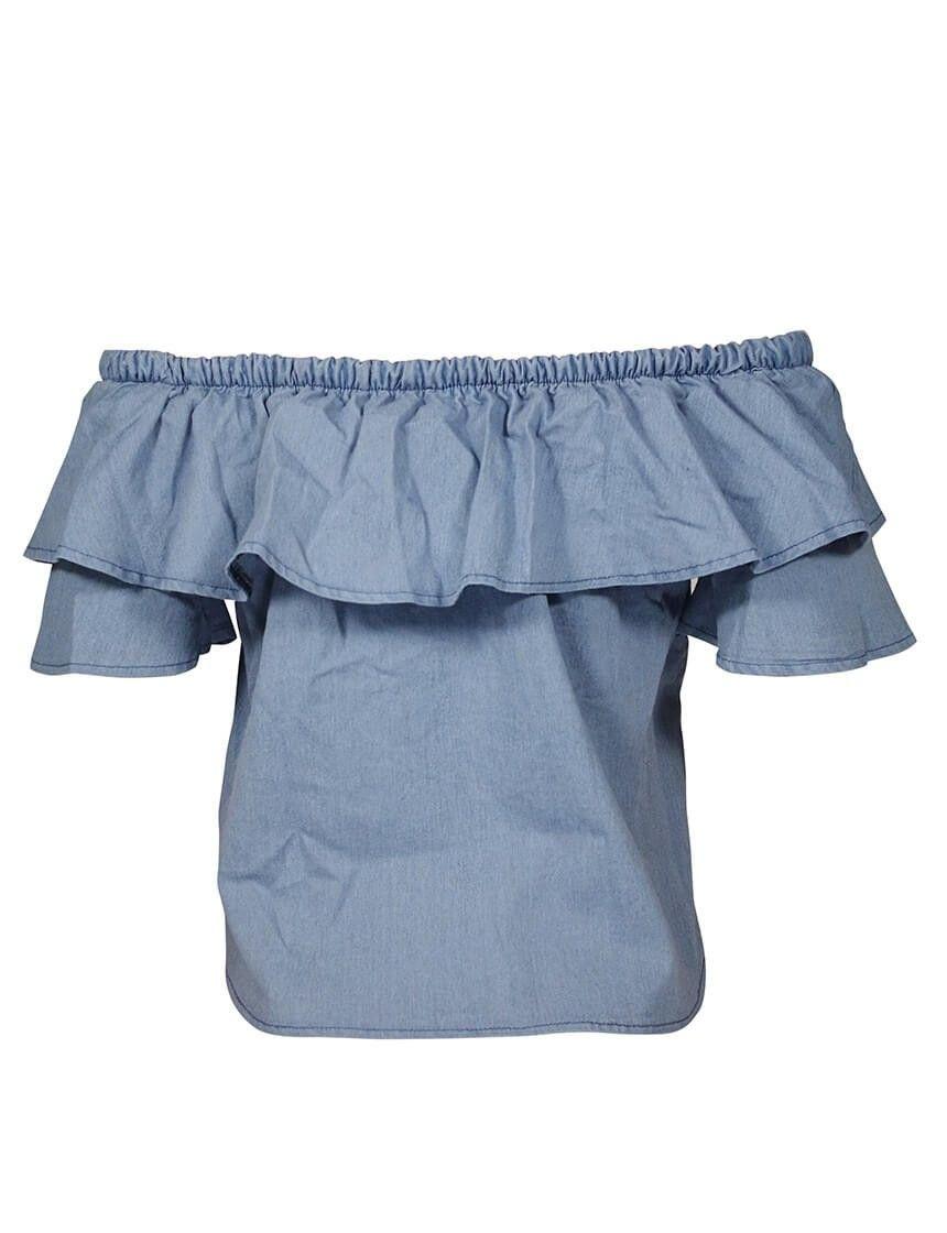 8974e2416a3 Blue Off Shoulder Ruffle Hem Blouse in 2019 | BV clothes | Blouse ...