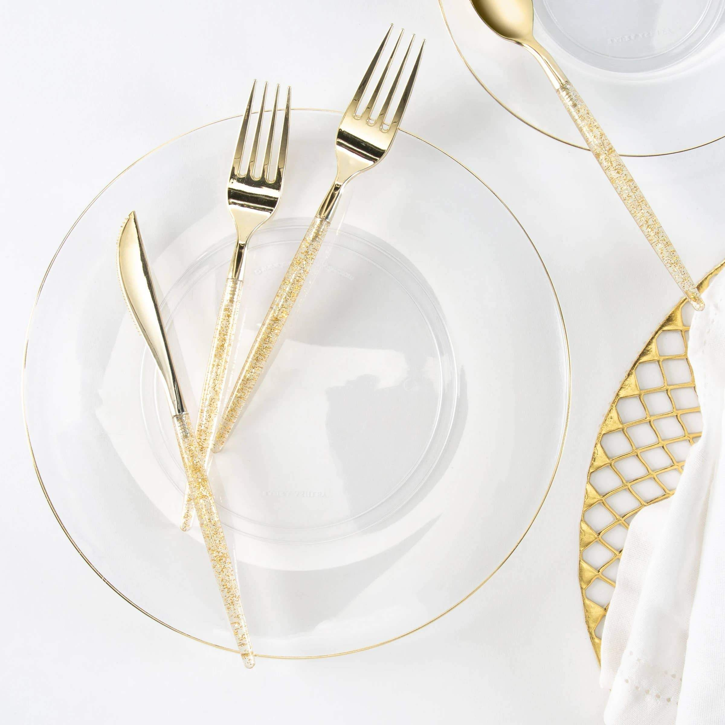 clear + gold pattern dinner plate
