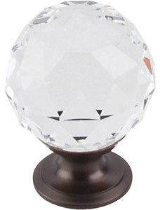 "Clear Crystal Knob 1 3/8"" w/ Oil Rubbed Bronze Base modern knobs $35"