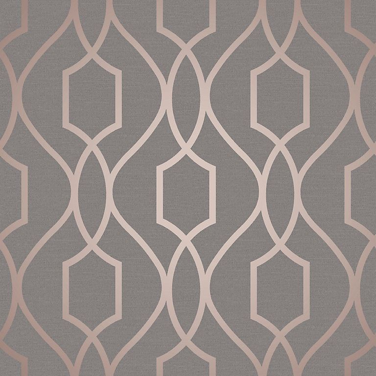 Fine Decor Grey Copper Effect Geometric Textured Wallpaper Bq For All Your Home And Garden Supplies And Advice On All The Latest Diy Trends
