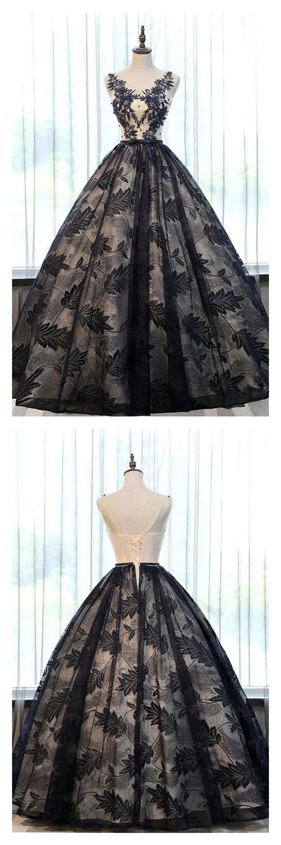 Black round neck long prom ball gown with laceed long prom