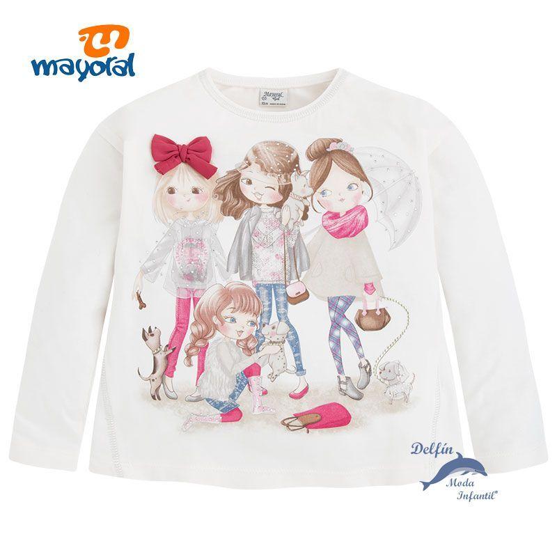 d818c5779 Camiseta niña MAYORAL manga larga serigrafia 4 niñas