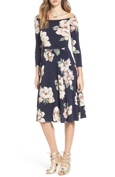 23f6e0efd2 Free shipping and returns on Soprano Off the Shoulder Floral Print Fit   Flare  Dress at Nordstrom.com. Pretty flowers burst into bloom on a stretch-jersey  ...