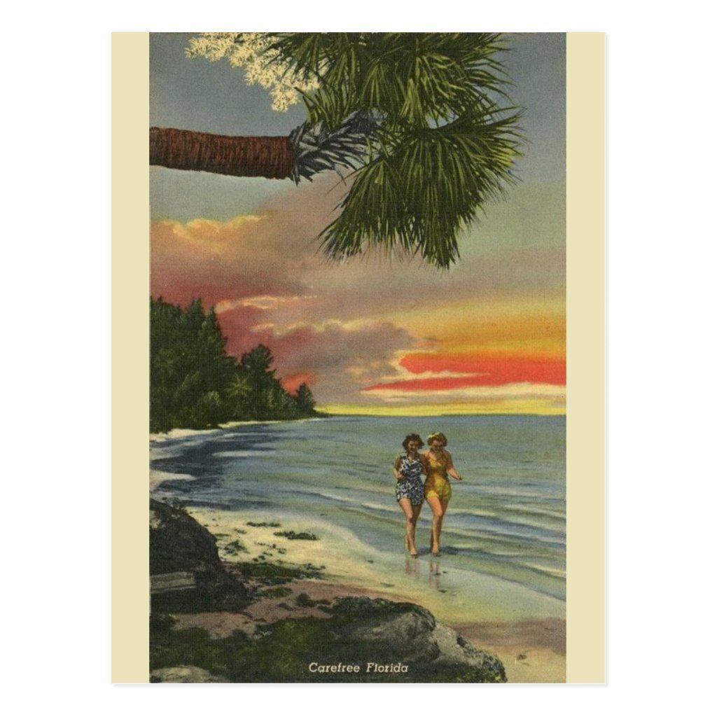 Vintage Florida Sunset Post Card Zazzle Com In 2021 Postcard Vintage Postcards Travel Vintage Florida