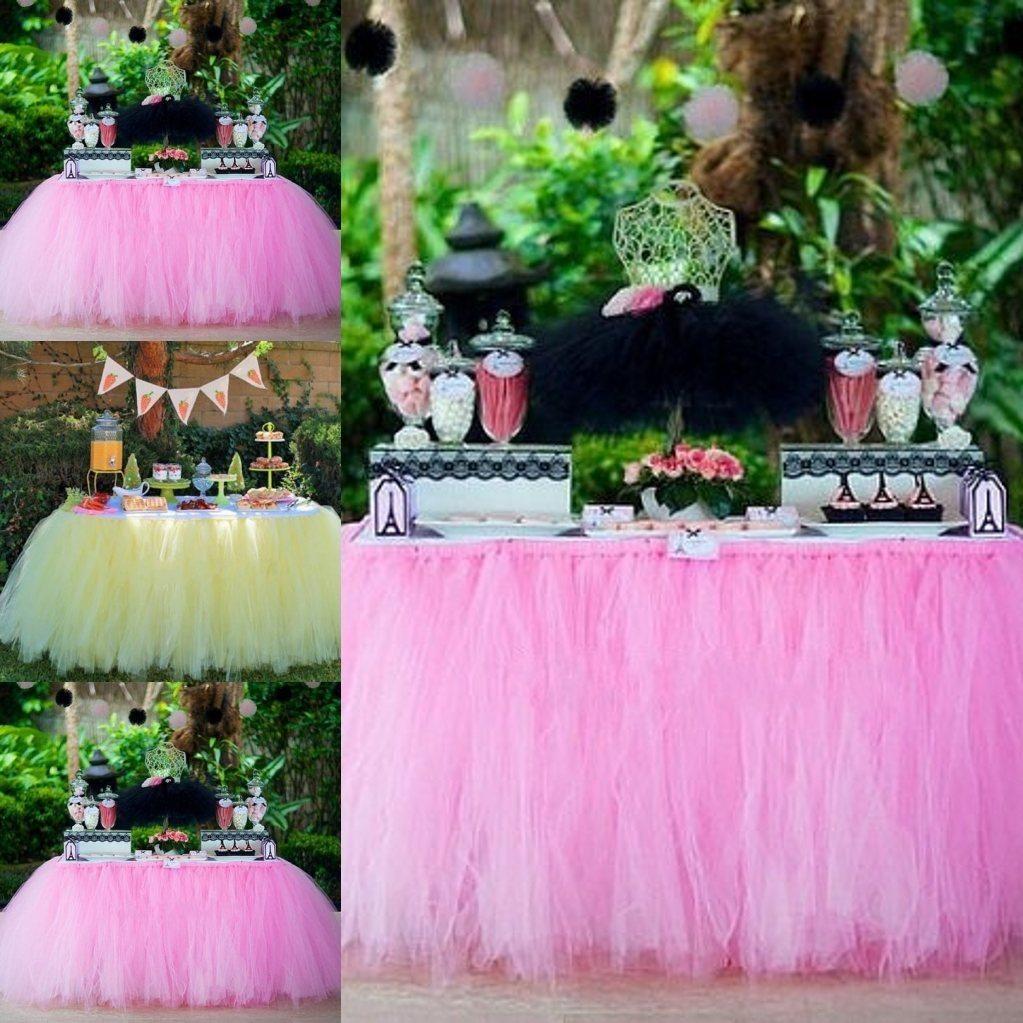 Vintage Pink Tulle Tutu Table Skirts Puffy Tulle Sash Around Table ...