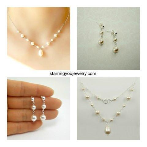 Weddings Simple /& Elegant Pearl Bridesmaid Jewelry Set Necklace and Earrings