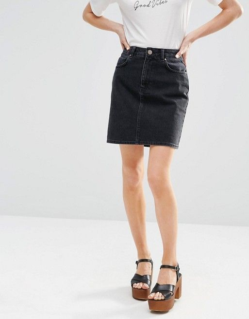 62dadee9a ASOS   ASOS Denim Original High Waisted Mini Skirt in Washed Black ...