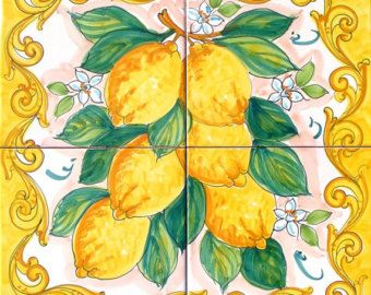 Hand Painted Decorative Ceramic Picture Tiles Alluring Handpainted Tile Mural Yellow Lemon Ceramic Tile Art And Craft Design Inspiration