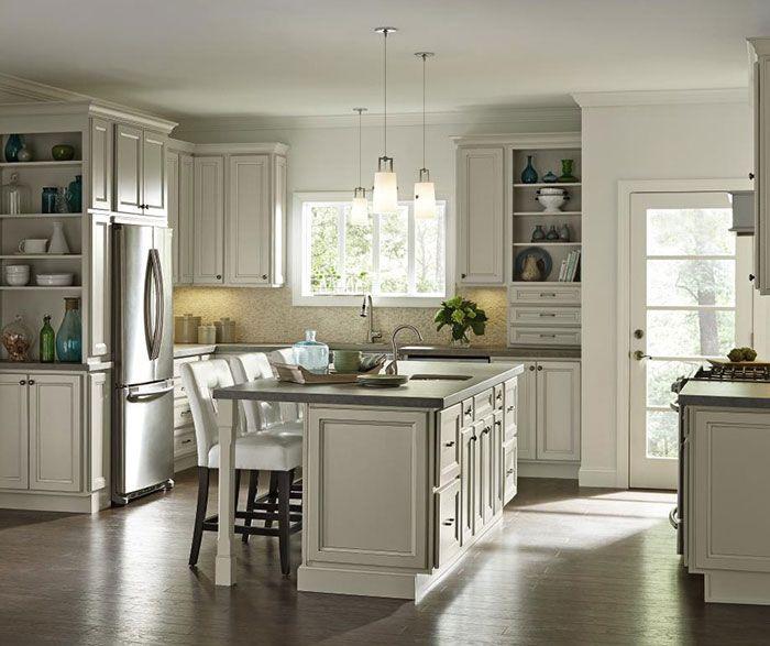Creamy Glazed Cabinets In Casual Kitchen Homecrest Pantry Cabinet Kitchen Cabinets Models Casual Kitchen