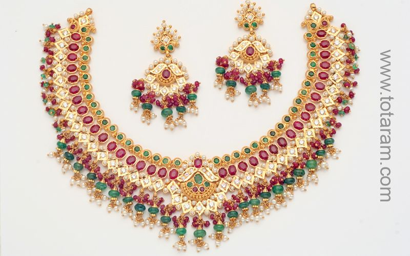 Ruby and Emerald Necklace and Earrings Sets in 22K Gold Indian