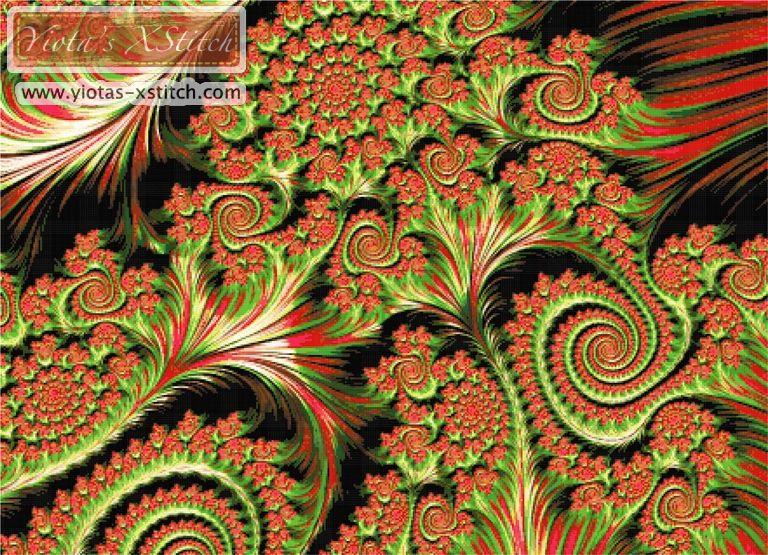Spiral fractal cross stitch