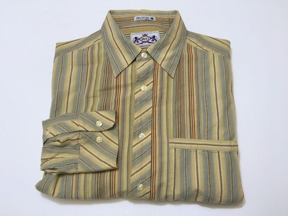 Robert Graham R&G L Men's Long Sleeve Button Front Striped