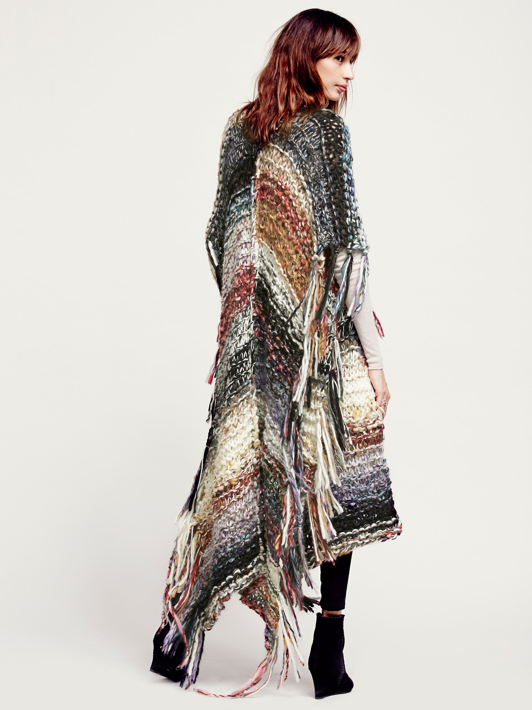 Free People Multi Color Maxi Poncho at Free People Clothing Boutique.