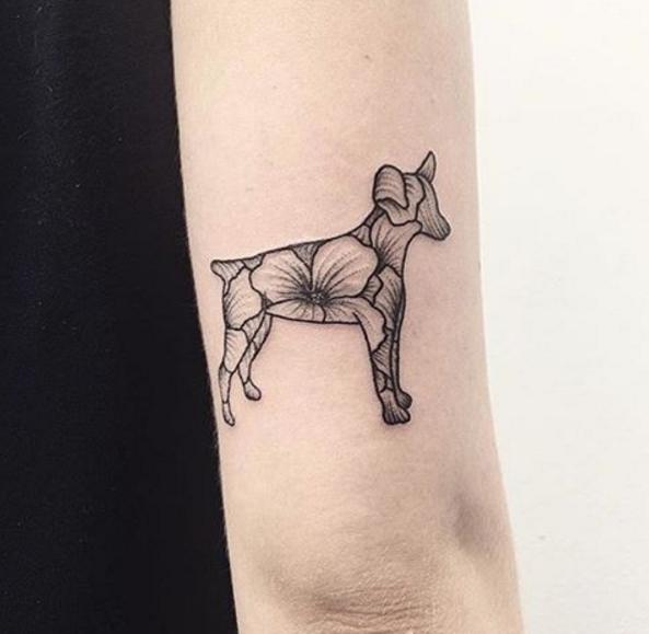 Tatuajes Minimalistas Para Mujeres Perro Floreado Ink Tattoos