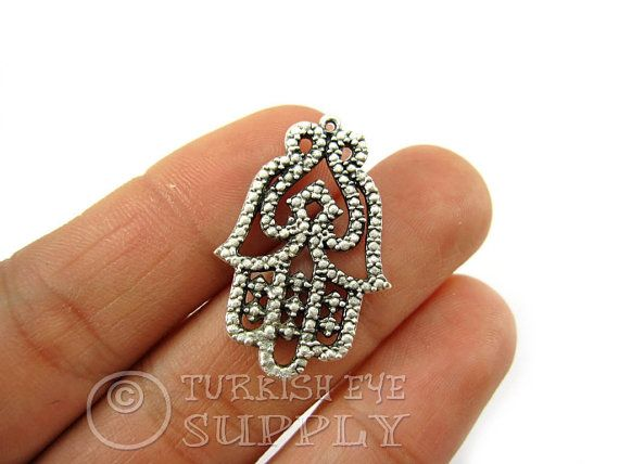 3 pc Filigree Hamsa Connector Charms Antique by turkisheyesupply