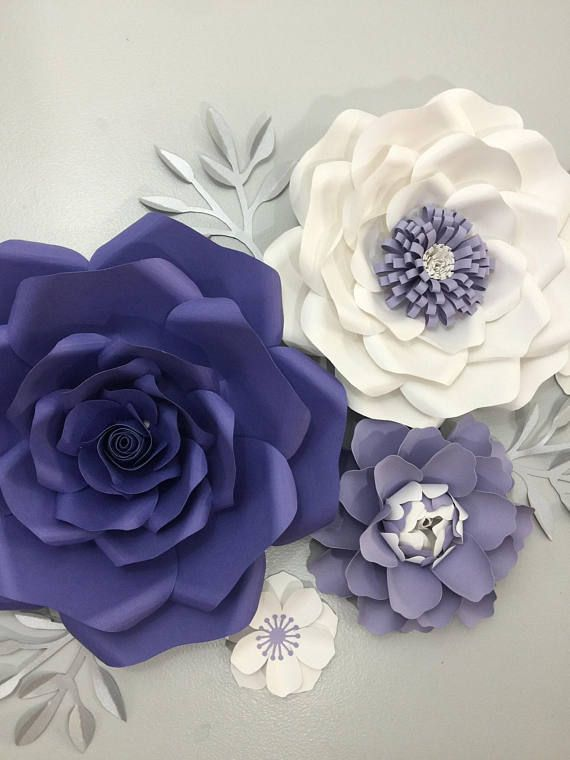 Large paper flowers backdrop - purple flowers wall decor - Giant ...