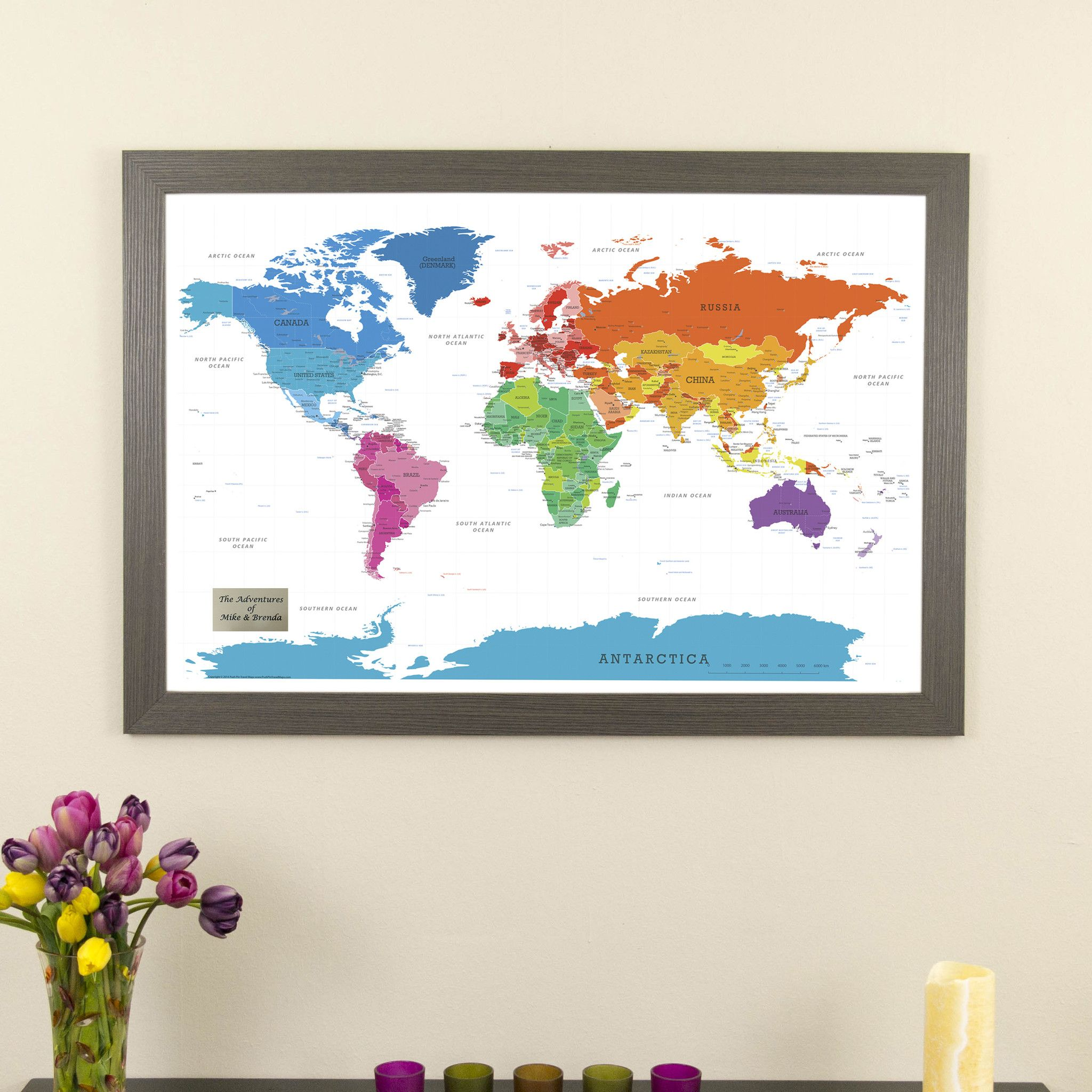 Colorful World Push Pin Travel Map With Pins