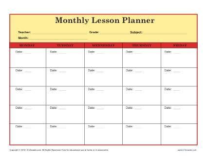 Elementary Lesson Plan Template for Teachers - monthly Lesson - elementary lesson plan template