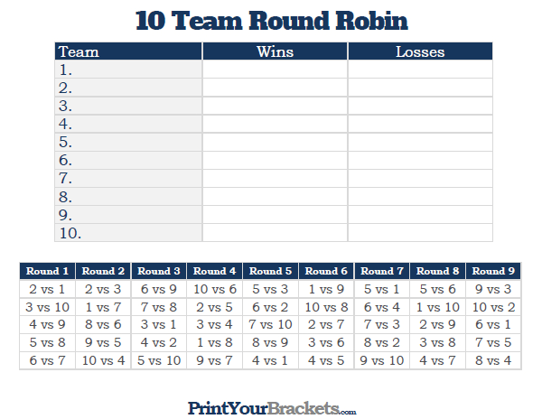 Printable 10 Team Round Robin Tournament Bracket Team Games Tournaments Robin