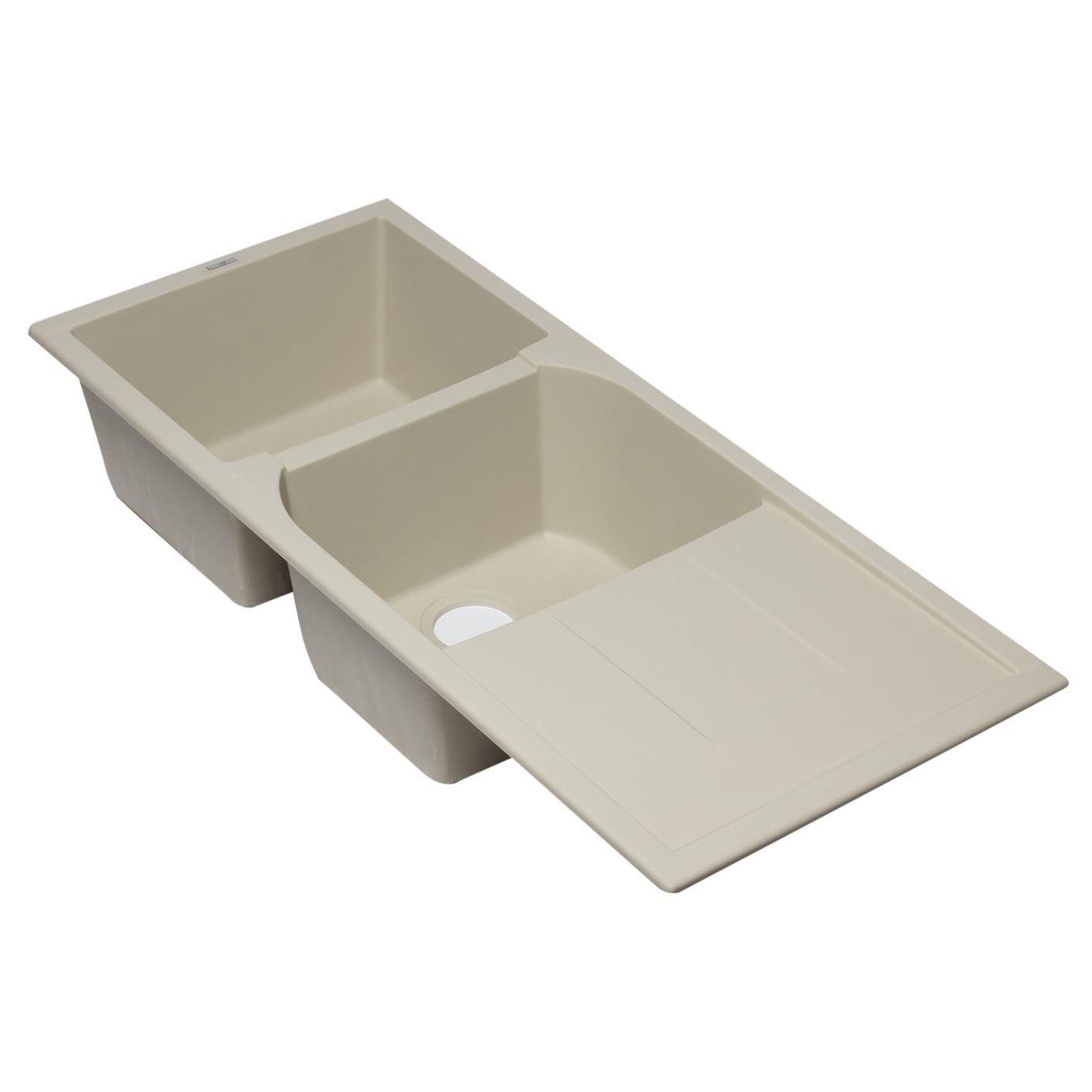 Alfi brand AB4620DI-B Biscuit 46 Double Bowl Granite Composite Kitchen Sink  with Drainboard, Blue wash