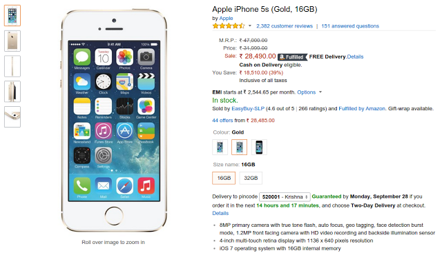 d9cb3cbd23f38a Apple iPhone 5s 16GB Price Dropped in India Online on Amazon.in | India  Online Shopping